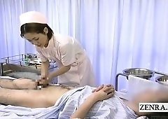 Subtitled medical CFNM handjob spunk flow with Japan nurse