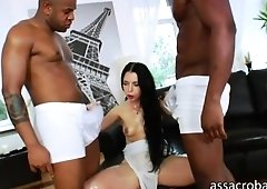 Sultry Isabella Clark receives a double chocolate hole on beefy hard cocks
