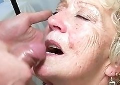 Lewd granny Malya gives a blowjob and plus receives fucked in cowgirl position