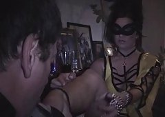 Me worshipping Dominant Gal Sophie at a party - part2
