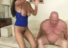 Naughty brunette hair pounding fat grandpa