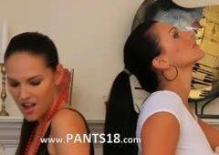 blackhair lesbians in stockings teasing