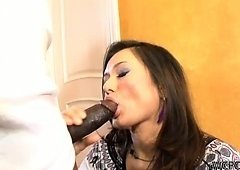 White slut likes dark dick in her mouth