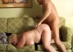 Fat BBW Granny Mature Receives Drilled On Couch