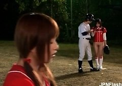 Nasty far eastern babes are playing baseball