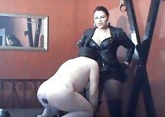slave sucks pecker and also anal