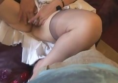 Busty hairy grown-up with nice curves strips and plus masturbates