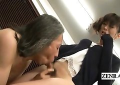 Subtitled bottomless Japanese newhalf teacher oral-service