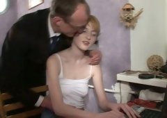 Slim and additionally pale blondie haired chick provides older man with nice blowjob