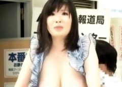 Raunchy asian news anchor fucked at work