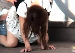 Luscious Japanese girl takes it deep doggystyle in public