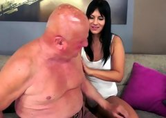 Grandpa getting down and dirty a gorgeous brunette hair babe doggystyle